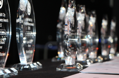 Award trophies on display