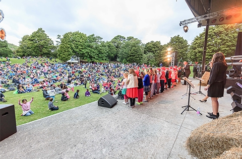 Carols event on stage in Upper Hutt helped by grant funding