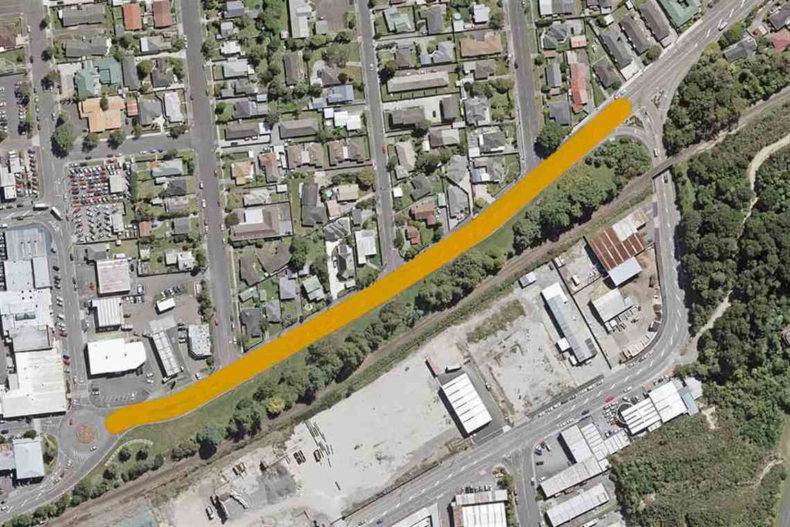 Map showing area Fergusson Drive North will be resealed between King and Park Streets