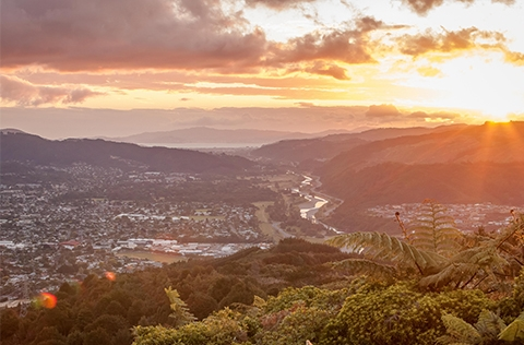 Scenic view of Upper Hutt at sunset from hilltop