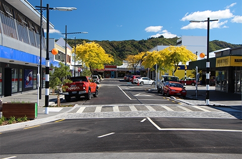 Street in Upper Hutt on a blue sky day